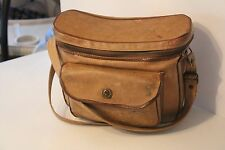 VINTAGE LEATHER CAMERA CARRYING CASE BAG TAN BROWN