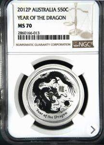 2012 P ** Australia 1/2 Oz Lunar **  Year Of The Dragon ** NGC MS70 ** PERFECT