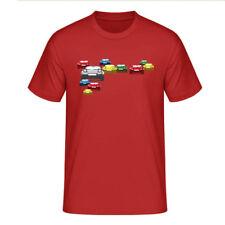 "T-Shirt ""Mazda MX-5 Miata NA Collage"", rot / mehrfarbiger Print, vorne"