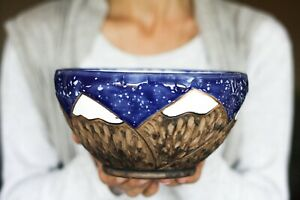 Snowy mountains bowl Night sky Snowy mountains Stars Mountains are calling Adven