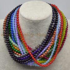 Handmade Lots 4mm 6mm Multi-Color Smooth Jade Gemstone Round Beads Necklace 18''
