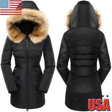 Women Fur Hooded Jacket Coat Ladies Puffer Quilted Winter Warm Parka Overcoat US