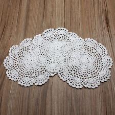 Set Of 3 White Hand Crochet Doilies Cotton Coasters Lot 8'' Round Applique