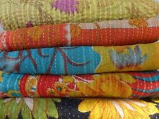 10 Pcs Wholesale Lot Indian Handmade Kantha Quilts Vintage Cotton BedCover Throw