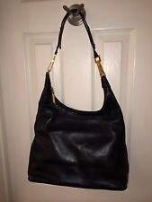 "St John ""Hobo"" Style Black Soft Leather w/Signature Gold Hardware Handbag Purse"