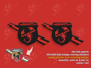FIAT 500 ABARTH 595 695 TURISMO COMPETIZIONE RED SIDE BADGE STICKERS