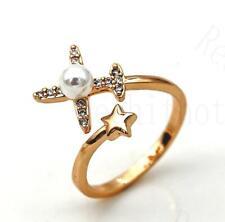 18K Gold Filled Adjustable Ring Laser Carved Star Pearl Aircraft Topaz Lady RE