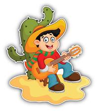 Cartoon Boy Playing Guitar Car Bumper Sticker Decal 4'' x 5''