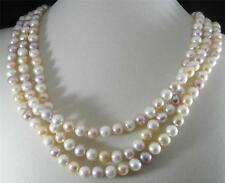 """Large White Peach Mauve Freshwater Pearl Knotted Long Strand Necklace 72"""" 8-9mm"""