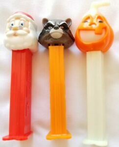 Pez Dispensers Feet Glow Pumpkin (Hungary) Santa & Racoon With Candy Lot of 3