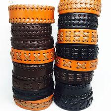 Wholesale 30pcs Mix Lot Top Button Genuine Leather Handmade Cuff Bracelets