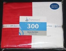 Impressions Luxor Treasures Queen Bedskirt Bed Skirt Egyptian Cotton Red new