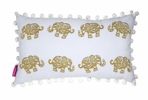 LILLY PULITZER ELEPHANT MEDIUM PILLOW 20 X 12 Gold Indoor Outdoor Home Decor NEW