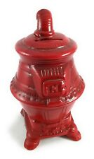 Vintage Stove Coin or Money Bank from Sears & Roebuck Red Glaze Ceramic Furnace