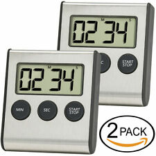 Digital Kitchen Timer 2Pack Stainless Steel Shell Large Digit Display Loud Alarm