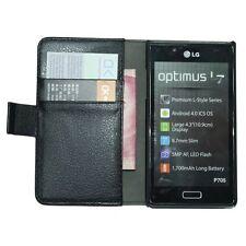 Portefeuille en cuir noir cas flip pour LG Optimus L7 II (P710) - couverture pochette holster