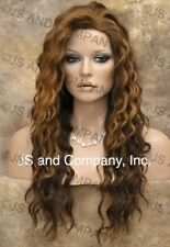 HEAT SAFE HUMAN HAIR Blend Long Wavy Brown Mix Full wig Flat WBBZ 27-4-30 NWT