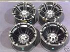 "12"" HONDA RANCHER 420 SRA ALUMINUM ATV WHEELS NEW SET 4 LIFE WARRANTY SS212 BLK"