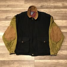 Nautica Men's Sz L Wool & Leather Baseball Style Bomber Coat Jacket