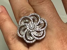 18k White Gold Filled Ring made with Cubic Zirconia, Marquise Flower Size 7
