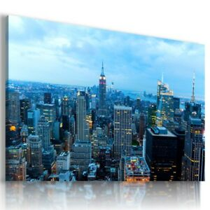 NEW YORK CITY BY NIGHT Perfect View Canvas Wall Art Picture Large L510 X