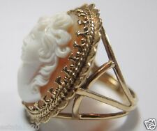 Retro Cameo Ring 14K Yellow Gold Ring Size 8.5 UK-Q1/2 White Coral High Relief