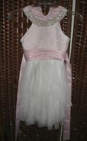 Rare Editions pink lace tulle dress 7 yr girls faux pearl neckline party wedding