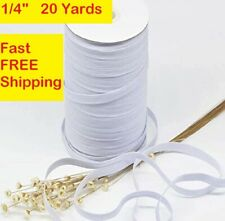 """1/4"""" White Braided Elastic 20 yards ideal for masks FAST FREE SHIPPING"""