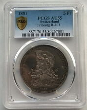 Switzerland 1881 Fribourg Shooting Festival PCGS AU55 5 Francs Silver Coin