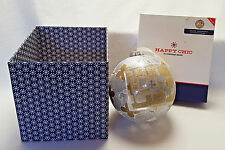 Jonathan Adler Christmas Ornament Happy Chic Love Glitter Large Glass Ball 5.5""