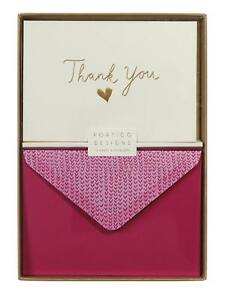 Thank You Heart Notecard Set - 10 Blank Cards & Envelopes - Portico Designs