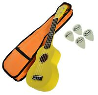 Soprano Beginners Ukulele Free Gig Bag, 4 Felt Picks in Yellow by Clearwater