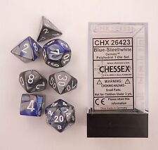 Chessex Polyhedral 7-Die Gemini Dice Set Blue Steel with White CHX 26423