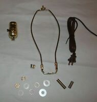 "POLISHED BRASS Make A Table Lamp Wiring Kit ~ ON/OFF Push Thru Socket & 13"" Harp"