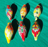 """Talavera Pottery Christmas Icicle Oblong Ornament Hand Painted Mexican 4""""x1.5"""""""