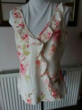 BNWOT - PER UNA - WOMENS - CREAM FLORAL PATTERN S/LESS LINEN TOP - SIZE 16