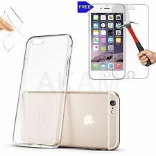 Soft Crystal Clear Gel Back Case Cover With Free Real Tempered Glass iPhone 6 6G