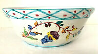 "Italian Pottery Large Serving Bowl White & Multi 4""H 9.75"" Diam Hand Painted EUC"