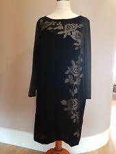 JACQUES VERT Lined Black Velvet Tunic shirt  Dress Floral Split Sleeves UK 20