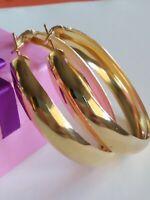 Boucles D'Oreilles Anneaux Grand avec or Jaune Laminé 18 KT Gf
