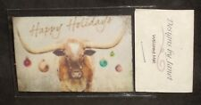 Welcome Mat - Happy Holidays Longhorn Christmas 1:12 Carpet Rug House Door Mini