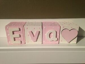 Personalised Baby Name Wooden Letter Blocks.Perfect Christening/baby room/shower