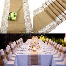 10 X Table Runner Jute Burlap Lace Hessian Country Wedding Party Home Decoration