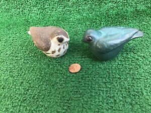 2 Andersen Design Studio Pottery Brown/ GREEN BLUE Bird Figurines ESTATE NICE