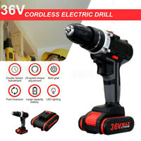 36V Cordless Drill Double Impact LED Worklight Light & Li-ion Battery Power Tool