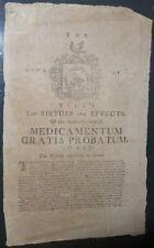 Tilly's Medicamentum Gratia Probatum Remedy c 1780 Broadside Quackery Rare