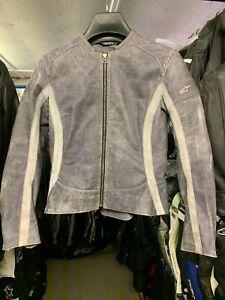 Alpinestars Nero Ladies Blue Leather Casual Motorcycle Jacket Size EU 42 UK 10