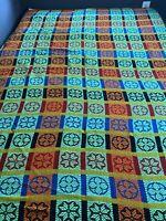 Vintage Tejidos Woven Twin Bedspread Fringe Trim Multicolor Floral Plaid Cotton
