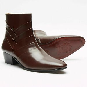MENS LUCINI BROWN ANKLE FORMAL LEATHER CUBAN HEEL BOOTS,ZIP UP UK 6-11 26288