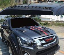 Matte Matt Black Front Roof Spoiler With Led For Isuzu D-Max Dmax 2015 16 17 18